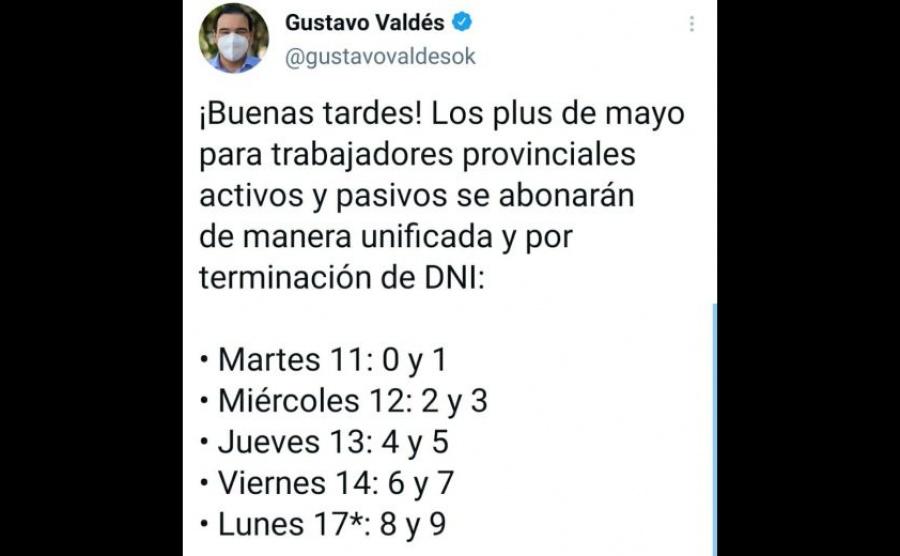 Valdés anunció el pago del plus para trabajadores provinciales